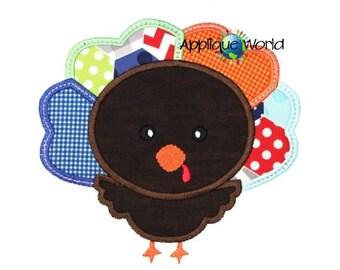 Thanksgiving Cute Turkey Applique Embroidery Design-Instant Digital Download Design-Machine Applique Embroidery -Kid Applique Patter