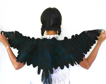 Raven Wings Costume Collar black crow scarf feather shawl pure natural merino wool felted cape cosplay larp  in black and dark blue