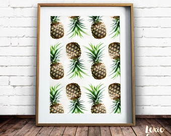 Pineapple Print, Tropical Print, Pineapple Pattern, Fruit Print, Pineapple Wall Art, Colour, Printable Wall Art, Instant Download