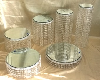 Crystal cake stands 1 - 2 -3 -4 - 5 or 6 tiers   crystal wedding cake stand sets