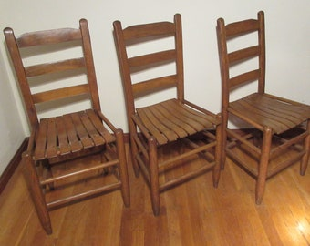Etonnant Set 3 Vintage Oak Dining Chairs Slat Wood Seat Ladder Back *Shipping NOT  Included. Contact Us For A Quote.