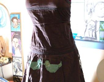 brown dress, bird dress, vintage dress, applique, sundress, 12, large, vintage, 90s, birds, sleeveless, cute dress, sale dress, retro, sale