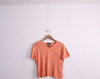 Coral 90s Ribbed Knit Top