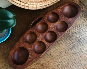 "Vintage Game Board, African Mancala Game, Hand Carved Wood, Large Wooden Mancala, 16.5"", Mancala Board, African Folk Art Carving, Home Decor"