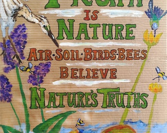 TRUTH IS NATURE Digital Print, by Michelle Kogan, Painting, Art and Collectibles, Print, Drawing, Illustration, Nature, Children's Art