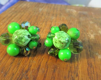 Bright Green Earrings Vendom Vintage Clip on Cluster Beaded Earrings Shades of Bright Green Holiday Faceted Glass Beaded Clusters Vintage