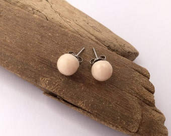 Classic cream, mirrorball sphere earrings. Surgical steel studs.