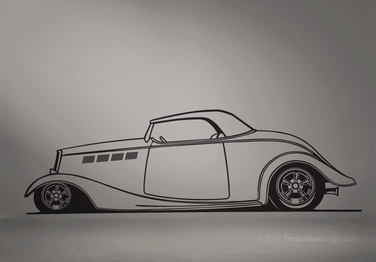 Cool Man Cave Wall Art : Hot rod roadster removeable wall decor hotrod car art