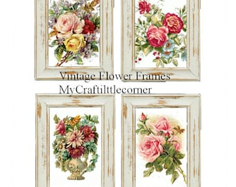 Set of 12 Vintage flower Frames INSTAND DOWNLOAD