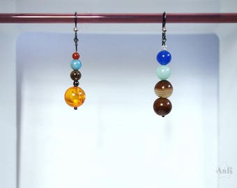 Solar System earrings | Solar System jewelry | planet earrings | asymmetrical earrings | Solar System gift | space geek gift