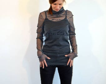 grey lace sweater