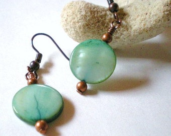 Earrings - Aqua Green Shell Coin Beads with Copper Bead Accents, Sea Green Shell Discs Earrings, Green Shell and Copper Jewelry