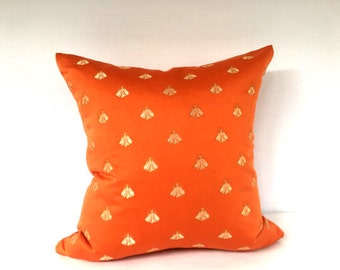 Designer Pillow COVER, Bee Napoleon Orange pillow case, Decorative Orange Custom Deluxe pillow case