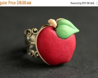 MOTHERS DAY SALE Apple Ring. Red Ring.  Fruit Ring.  Red Apple Ring. Food Ring. Adjustable Ring. Apple Jewelry. Bronze Ring. Food Jewelry. H