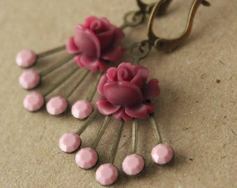 Vintage Swarovski Crystal & Antiqued Brass Deco-style Earrings with Flowers - Cranberry and Pink