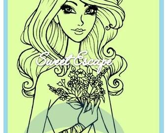 Flowers Woman Digital Stamp