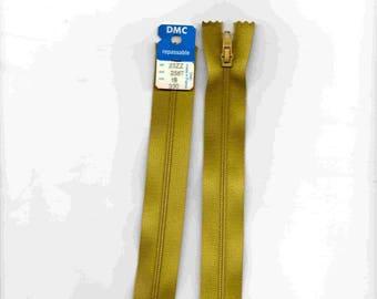 """Closed 18cm zipper""""plastic"""" non detachable yellow/green"""