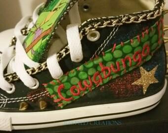 "Customized Converse Shoes ""Teenaged Mutant Ninja Turtle"" / Customized Chuck Taylors"