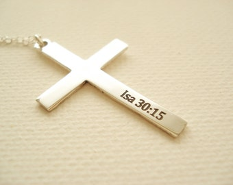 Sterling silver Personalized Cross Necklace...engraved name plate jewelry, monogram, bible verse, religious, faith gift