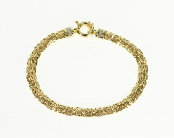 "14K Diamond Accented Pressed Byzantine Link Chain Bracelet 7.5"" Yellow Gold"