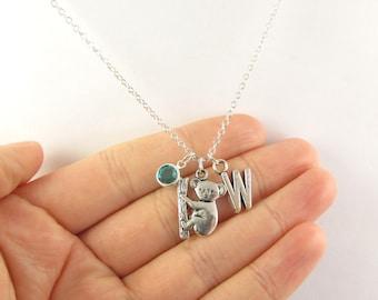 Koala Necklace- choose a birthstone and initial, Koala Jewelry, Koala Gift, Personalized Koala, Koala Charm Necklace, Animal Necklace