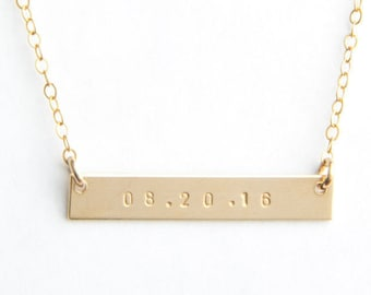 "Classic Date Bar Necklace, 1.25"", Personalized, Gold Filled, Sterling Silver, Rose Gold Filled"