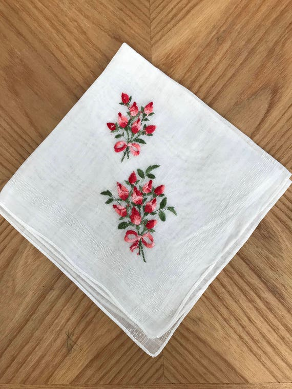 Beautiful Embroidered Cotton Floral Hankie!