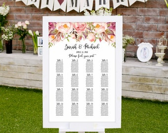 Wedding Seating Chart Template, Boho Chic Floral Wedding Table Plan, #A019, INSTANT DOWNLOAD with EDITABLE text - you personalize at home
