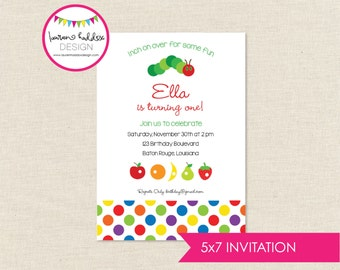 Colorful Caterpillar Birthday, Caterpillar Birthday Invitation, Caterpillar Printables, Caterpillar Decorations, Lauren Haddox Designs