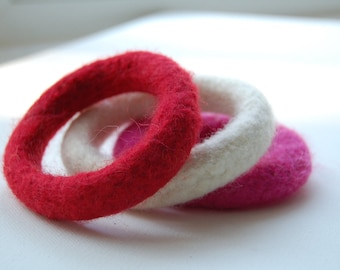 three felted wool bangle bracelets red ivory fuchsia