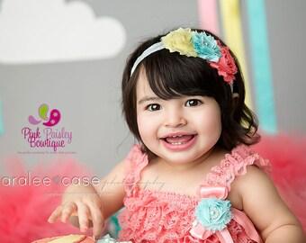 1st Birthday Romper - Lace Romper - Petti Romper - Ruffle Baby Romper - Baby girl 1st birthday outfit - Rainbow Birthday - Cake Smash Outfit