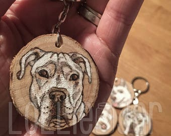 Personalised Wood Burned Wooden Disc Dog Portrait Keyring