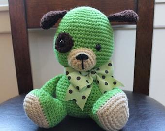 HANDMADE Green and Brown Stuffed Puppy. Stuffed Animal. Green Dog. Stuffed Dog. Stuffed Toy.