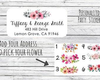 MINI Return Address Labels Stickers Floral Return Address Labels, Cute Address Labels, Flowers Return Address Labels, Floral Address Labels