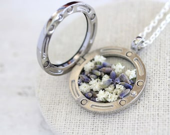 Gypsophila Necklace, Lavender Necklace, Real Lavender, Real Baby's Breath, Real Dried Flowers Locket, Dried Flowers, Dried Flowers Locket