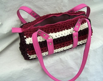 Hand crocheted striped bag red white and Burgundy