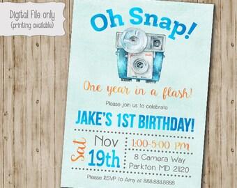 Oh Snap Camera Birthday Invitation, First birthday Invitation, Photography, Camera, Oh snap, One year in a flash, Camera Birthday