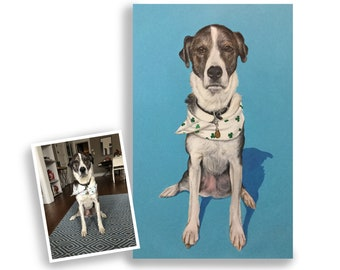 10x16 custom dog portrait on canvas from photo acrylic original tall format art great gift for pet lover