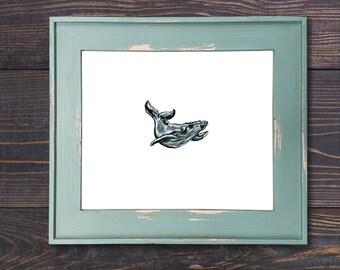 Small Whale Art, Humpback Whale 103, Watercolor Art, Print, Whale Art, Whale Print, Whale Watercolor Print, Beach House Art, Wall Art, Whale