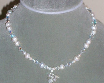 Y Necklace made with Pink Freshwater pearls and pink glass Crystal beads.