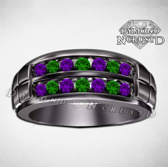 Mens Joker Inspired Emerald Amethyst Swarovski Diamonds
