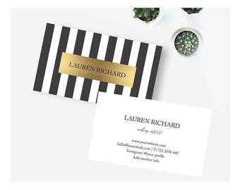Stripe business card etsy gold striped business card design black striped business cards instant download business card template reheart Image collections
