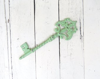 Rustic Key Paperweight, Skeleton Key, Green Key, Shabby Cottage Chic, Farmhouse Decor, Office, Organization, Housewarming Gift, For Her