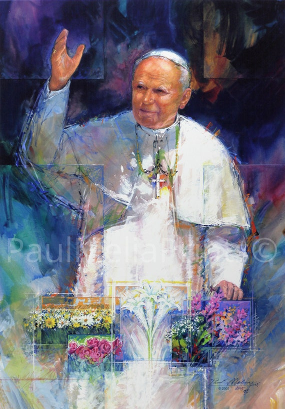 Pope John Paul II Painting Print Vatican Art Full Color