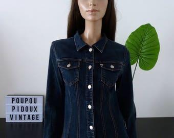 MISS SIXTY raw dark blue fitted denim jacket size S