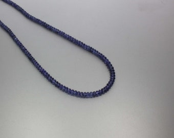 Blue Sapphire Smooth Rondelle 3.5 to 4.5 mm AA Necklace for Women