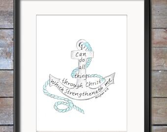 Bible Verse art print, scripture design, hand lettered typography, wall art decor, nautical, anchor, King James