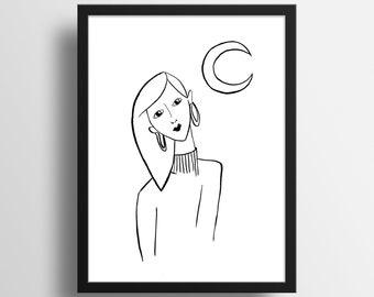 """Illustration """"Moonlight"""" A5 Print"""