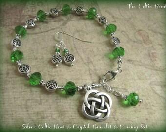 Silver Celtic Knot & Green Crystal Bracelet and Earring Set