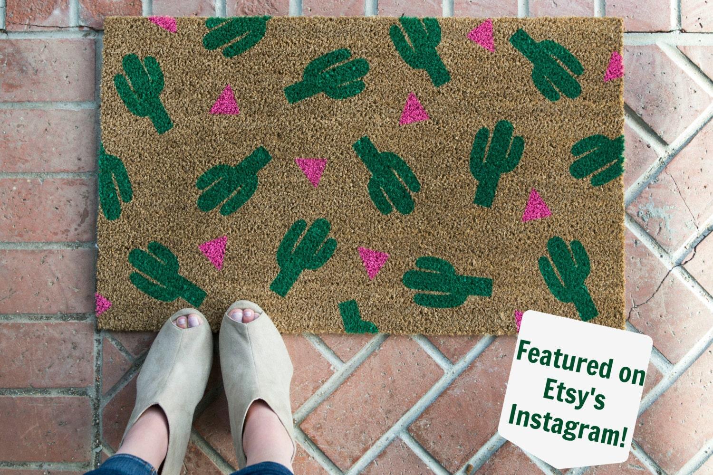 Cactus doormat /Hand painted Custom welcome mat/ Wedding